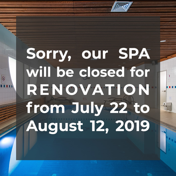 SPA will be closed for RENOVATION